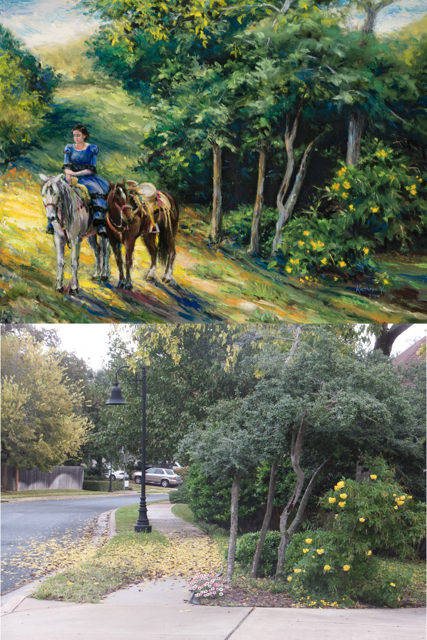"EXHIBIT B: Where did you drive out to in order to find the uninhabited landscape scenery for the ""Missing Rider"" painting? Well, I opened my front door, walked about 8 steps out, and took a photo of my next door neighbor's driveway."