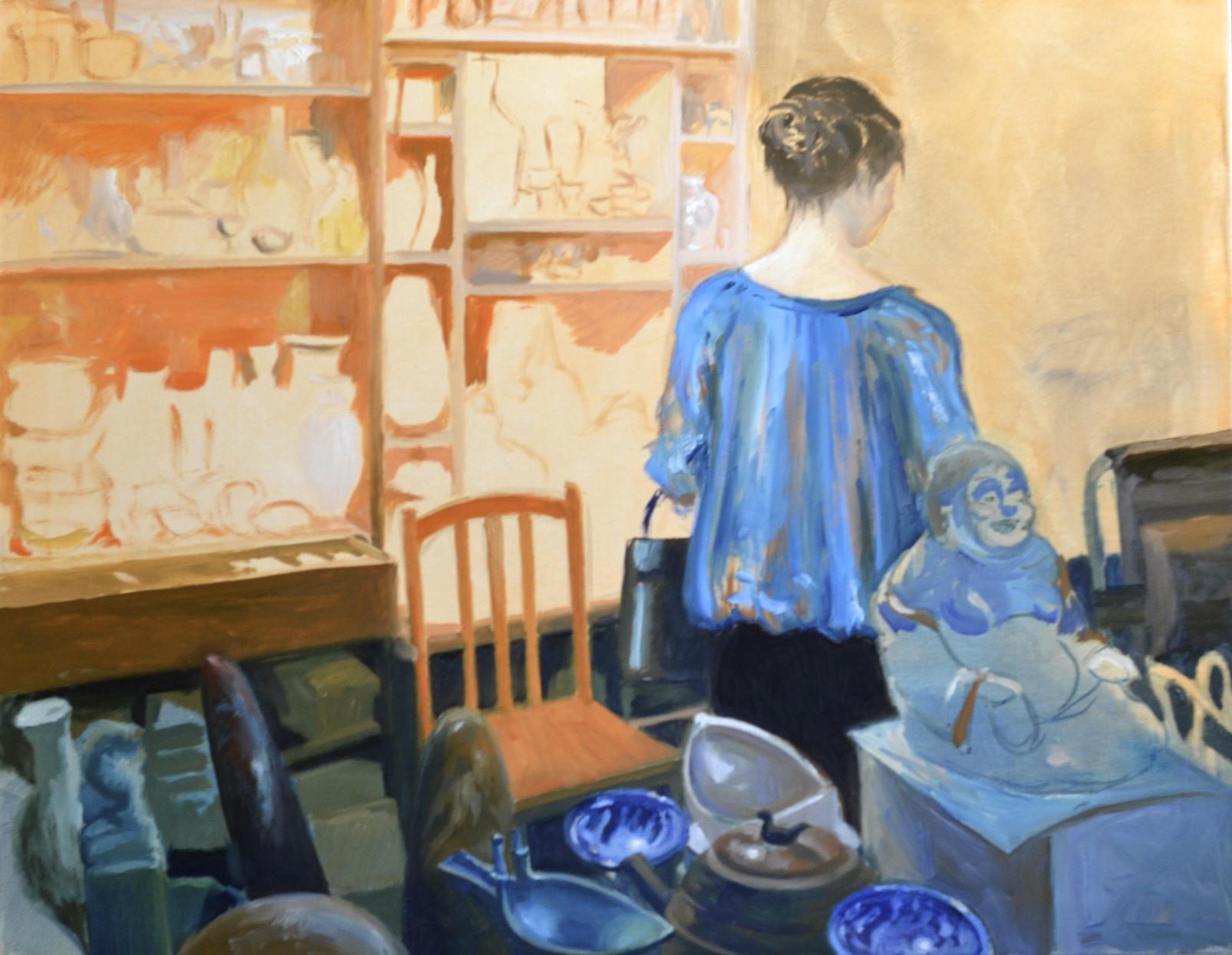 "Tue. Jan. 27, 2015 - ""The Antique Shop"", in progress @ 8 hours, 22x28in., oil on canvas"