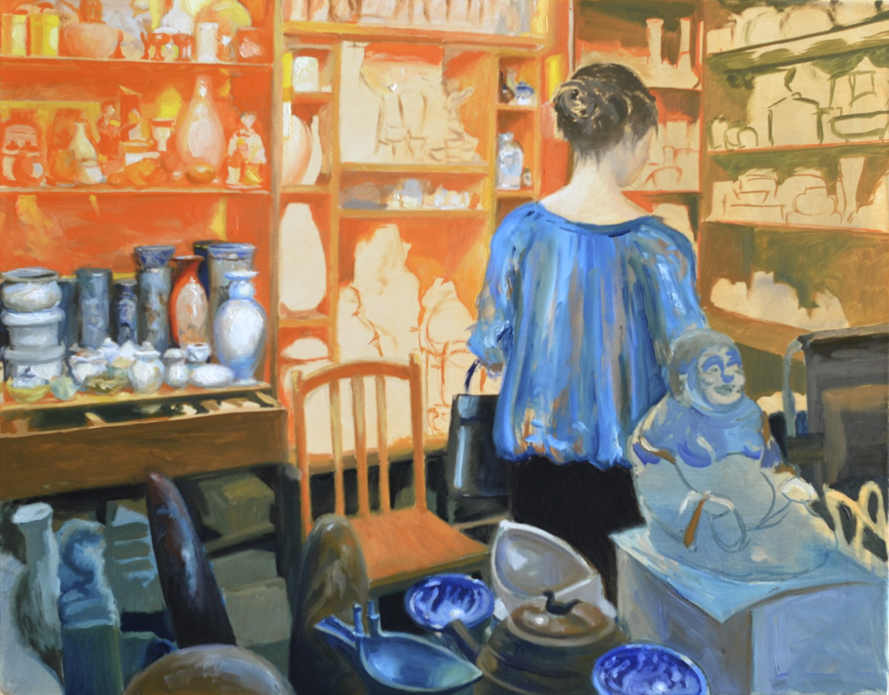 "Tue. Feb. 10, 2015 - ""The Antique Shop"", in progress @ 16.5 hours, 22x28in., oil on canvas"