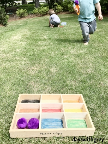color sorting game for fine and gross motor development