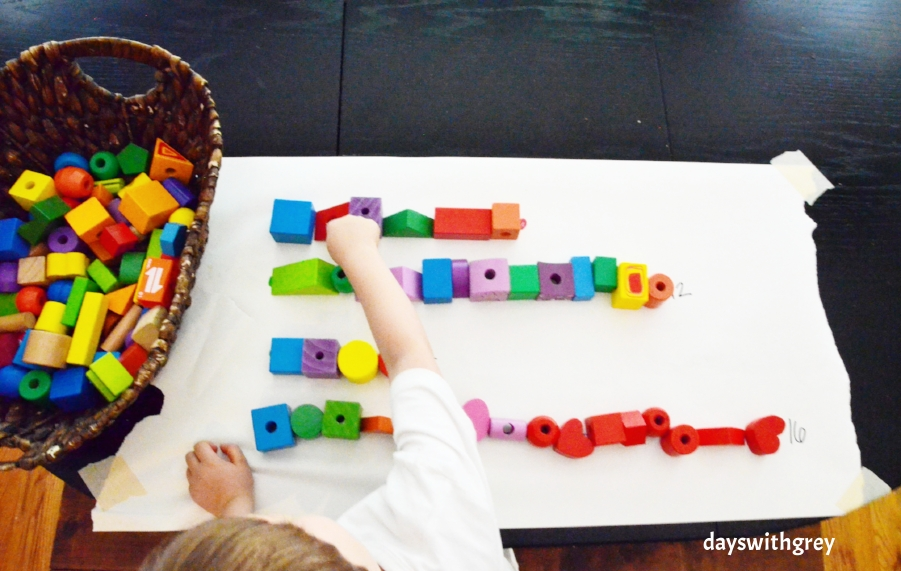 preschool math game for counting and nonstandard measurement