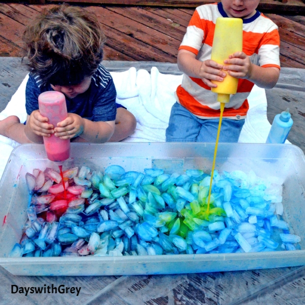 sensory play with ice