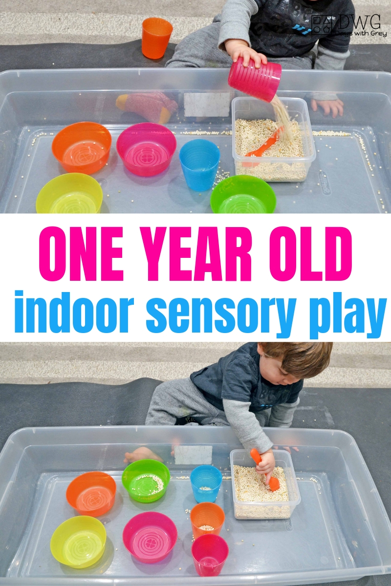 one year old indoor sensory play, toddler learning to scoop and pour, things to do with a one-year-old, at home learning with toddlers #toddler #oneyearold #18months #19months #20months