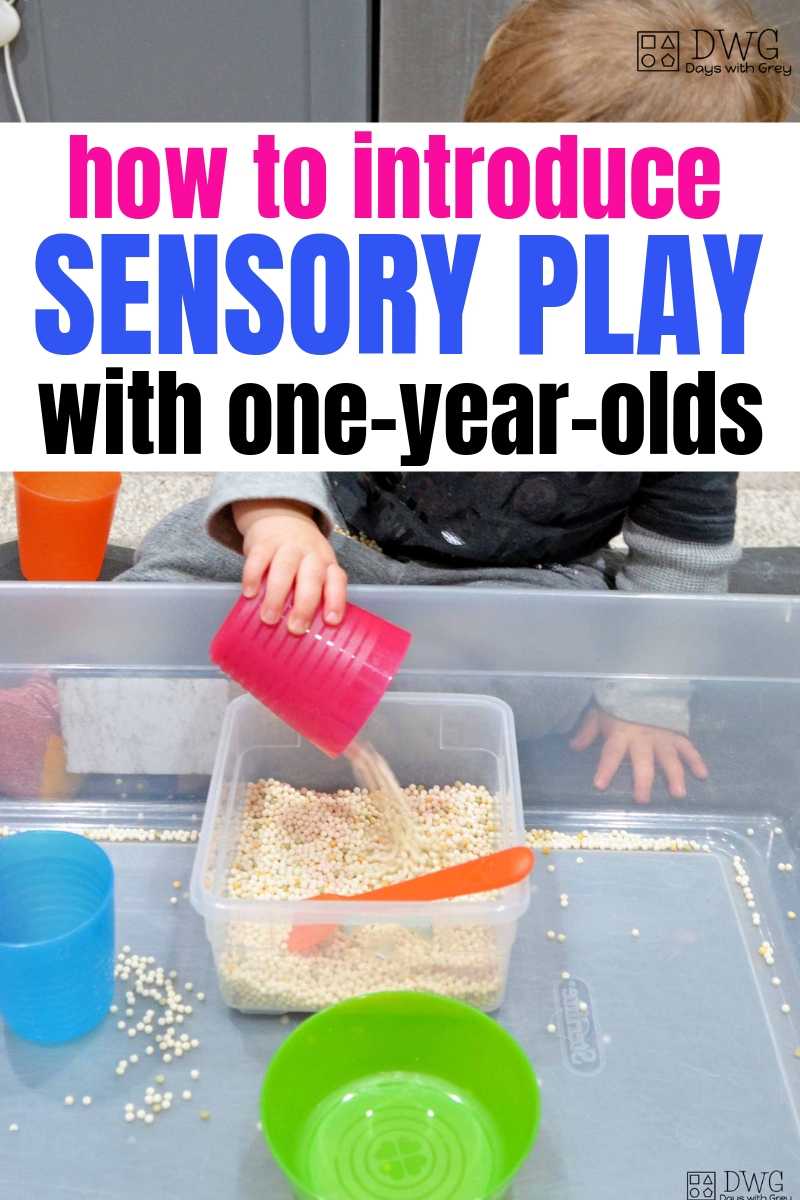 one year old indoor sensory play, toddler learning to scoop and pour, things to do with a one-year-old, at home learning with toddlers #toddler #oneyearold #18months #19months #20months #sensoryplay