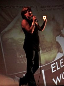 Speaking at the screening of short elephant-related films at the Ellsworth Movie Theater, Ellsworth, Maine 2012