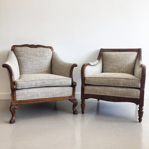 Antique His & Hers Armchairs