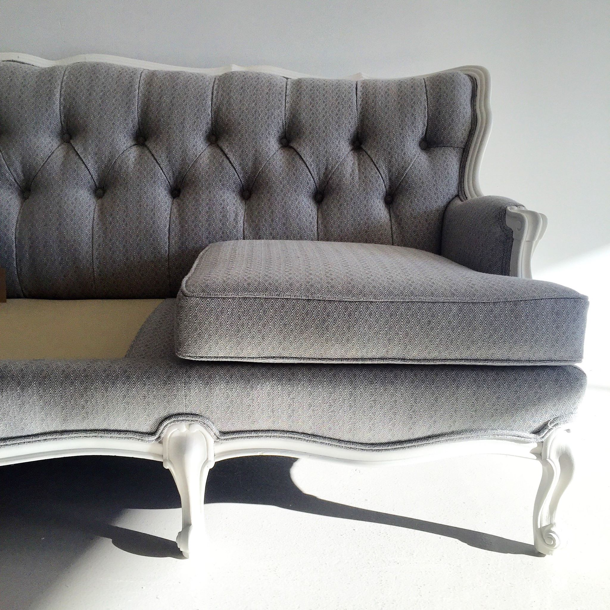 Vintage sofa in progress, fabric by Trend