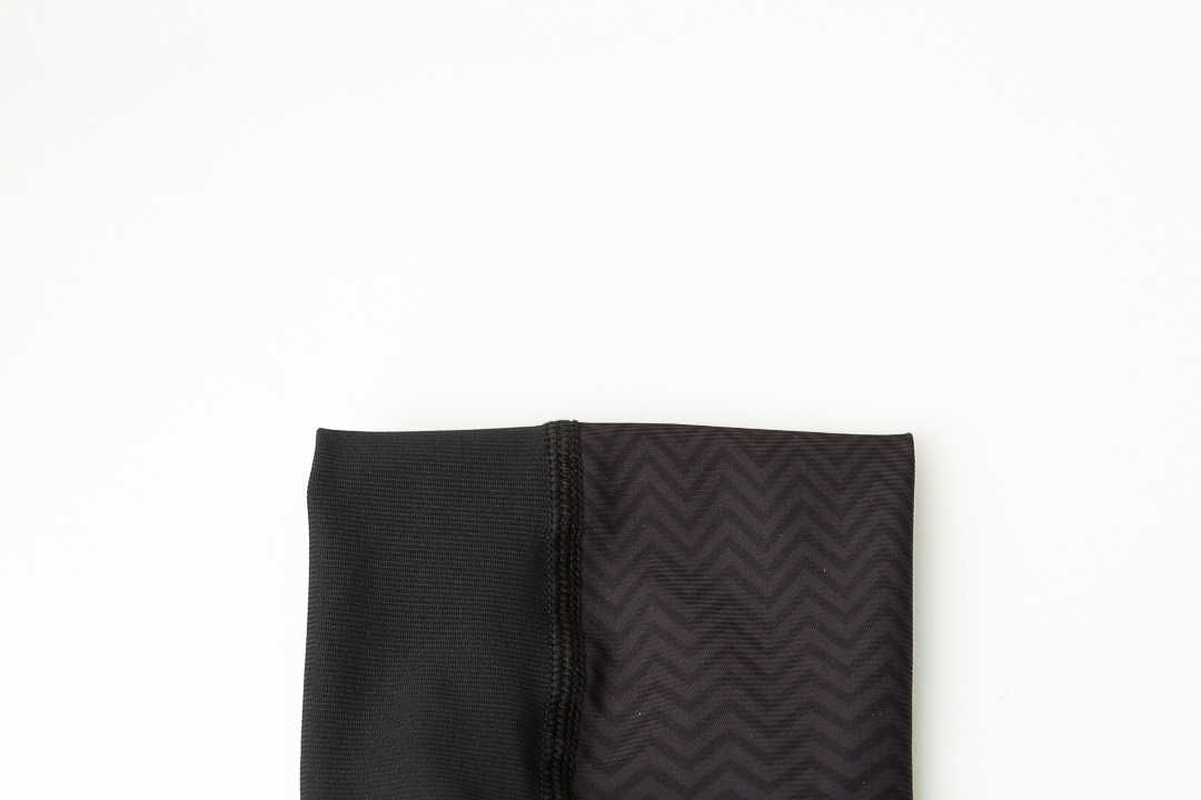 Distinctly different. The tone on tone herringbone panels on the Kitsbow knee & arm warmers for road cycling.