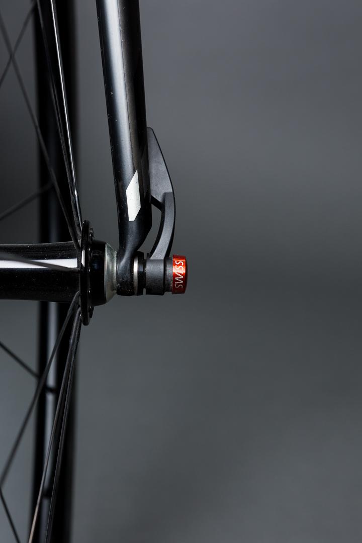 A utilitarian masterpiece. The DT Swiss skewers lock the custom Boyd Wheels in place on Jason's BMC SLR01 Team Machine