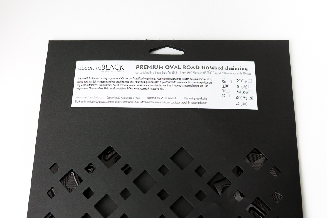 Absolute Black Oval Outer Chainring - packaging