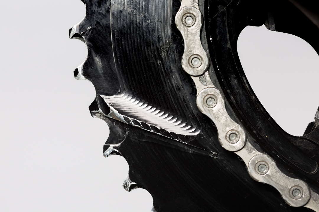 Absolute Black Oval Outer Chainring - Long term wear on CNC'd ramping system