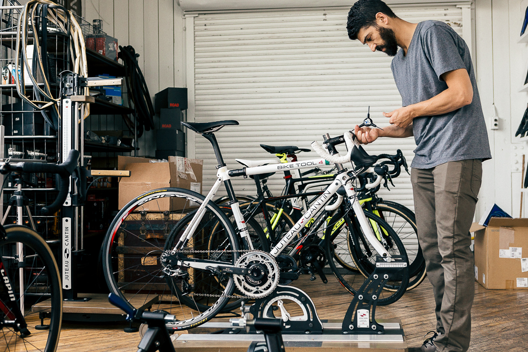Mike takes measurements from a fit on my current bike to make fit adjustments to the Juteau Cantin fit system.