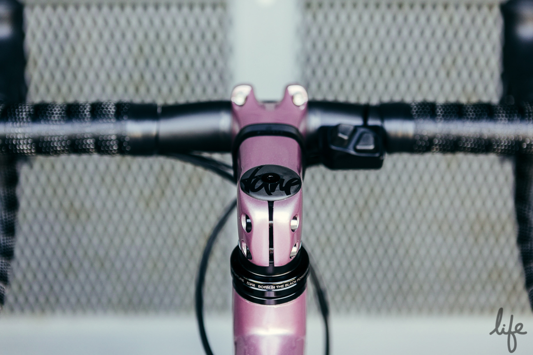 Tune carbon cap atop the custom painted Parlee stem