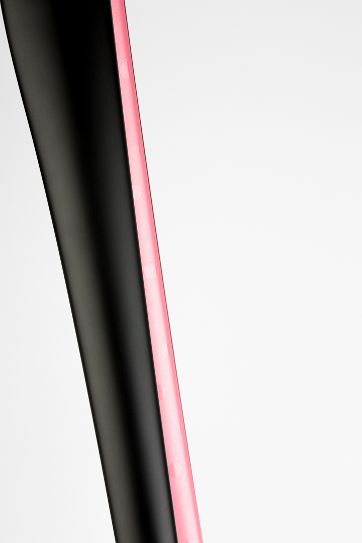Matte black and pearl Giro pink interior painted fork.