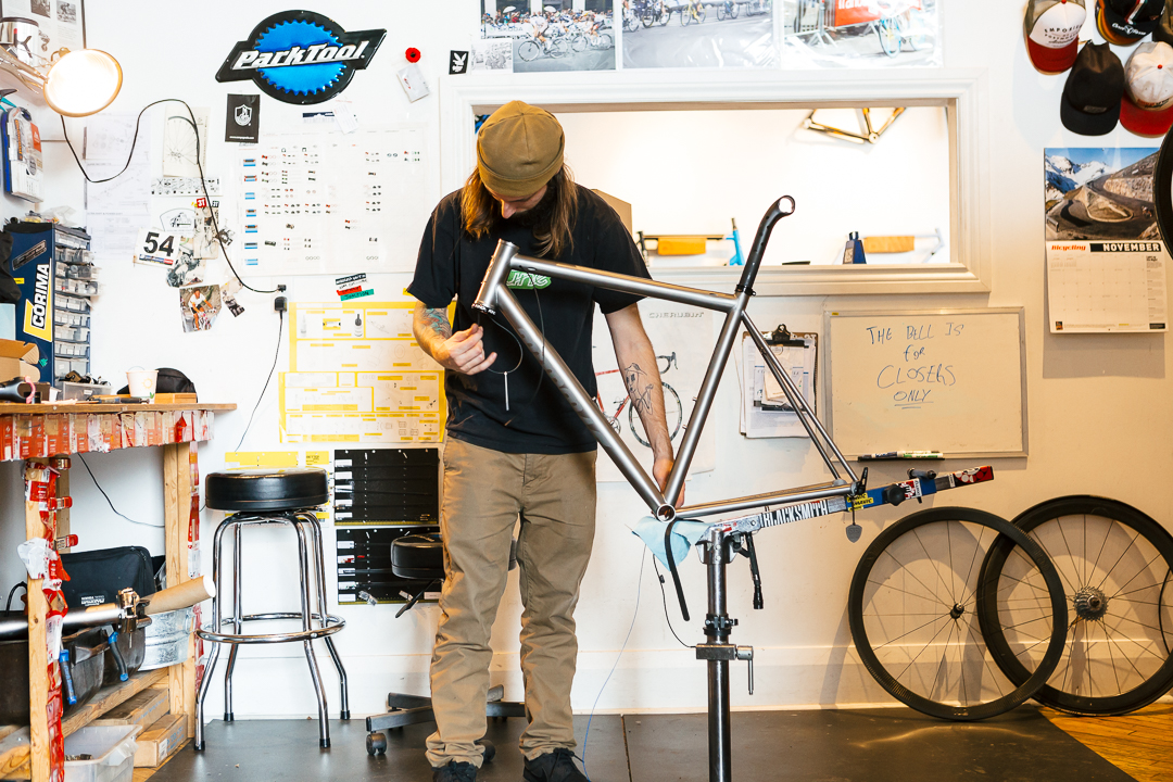 A big part of the build process is cable routing via the head tube and down through the head tube.