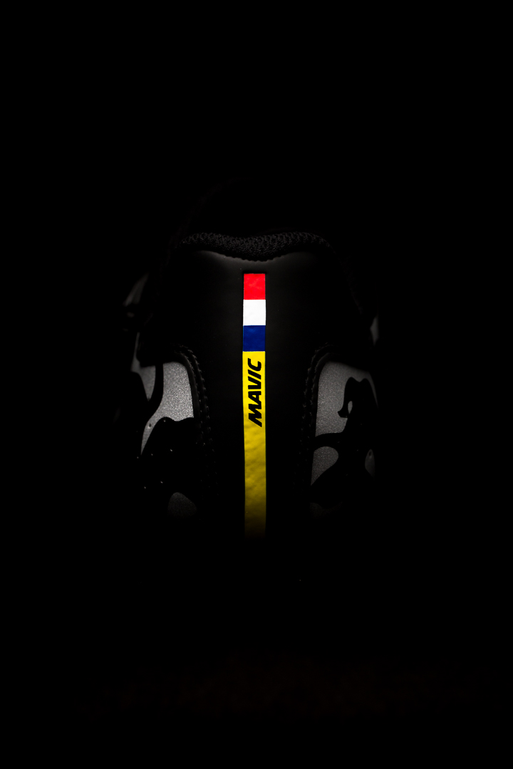 Proudly French, the Mavic Cosmic Pro LTD - Paris Roubaix sports a French flag atop a yellow stripe across the heel.