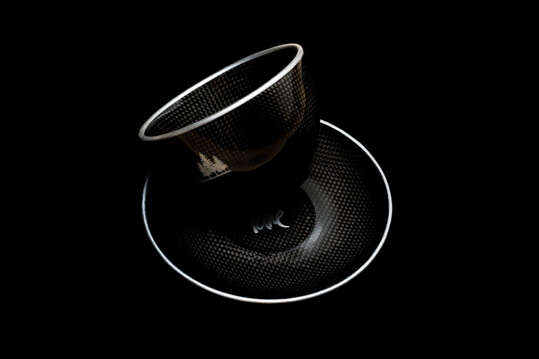 Tune Rohrpott carbon fiber coffee mug and saucer