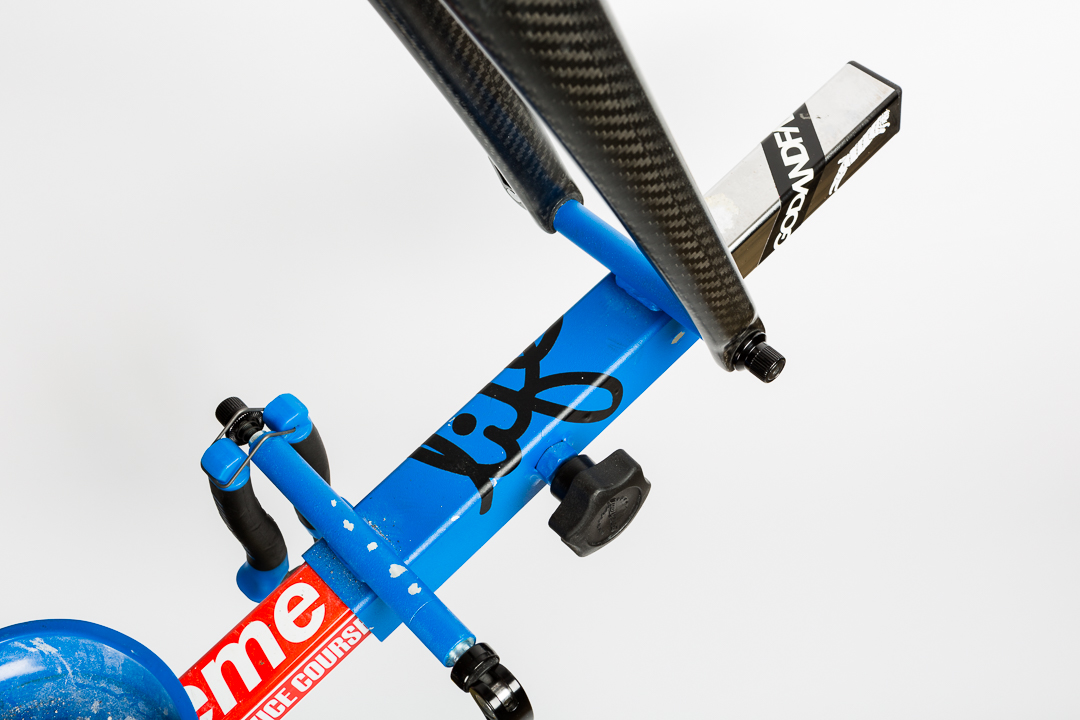 Bikes are secured to the Park Tools PRS-20 by quick release to either the front fork or rear derailleur.