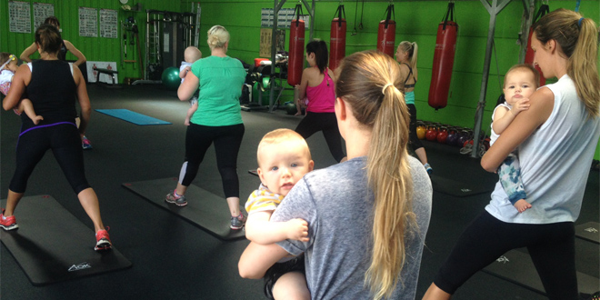 One of the Mums Empowered classes, using baby as their weight.