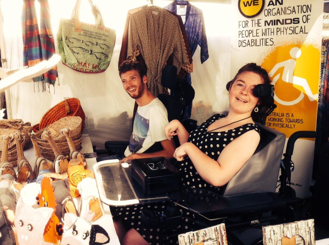 Nick and Georgia working hard at the Avenue Fair Trade stall, Kirribilli Markets, Sydney