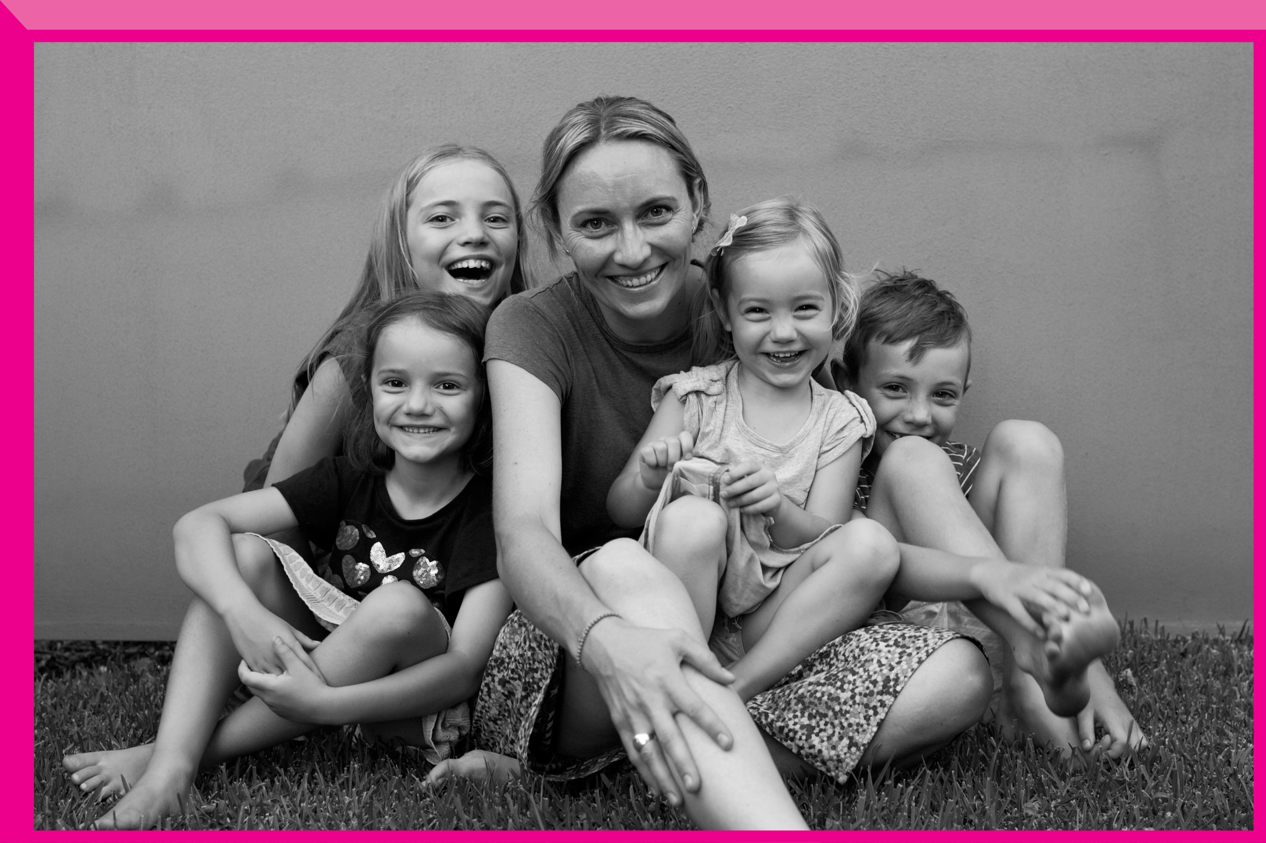Kate Kennedy with four of her five kids: Maisy, Juliet, Eve and Aiden