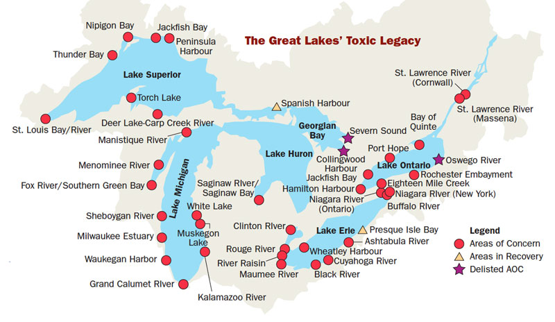 Areas of Concern for Toxicity on the Great Lakes