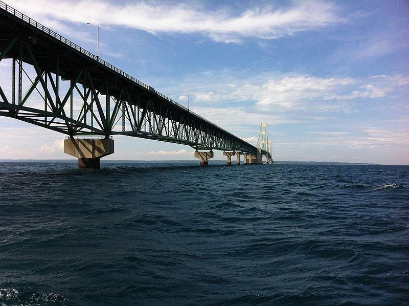 Mackinaw Bridge in the Straits of Mackinaw