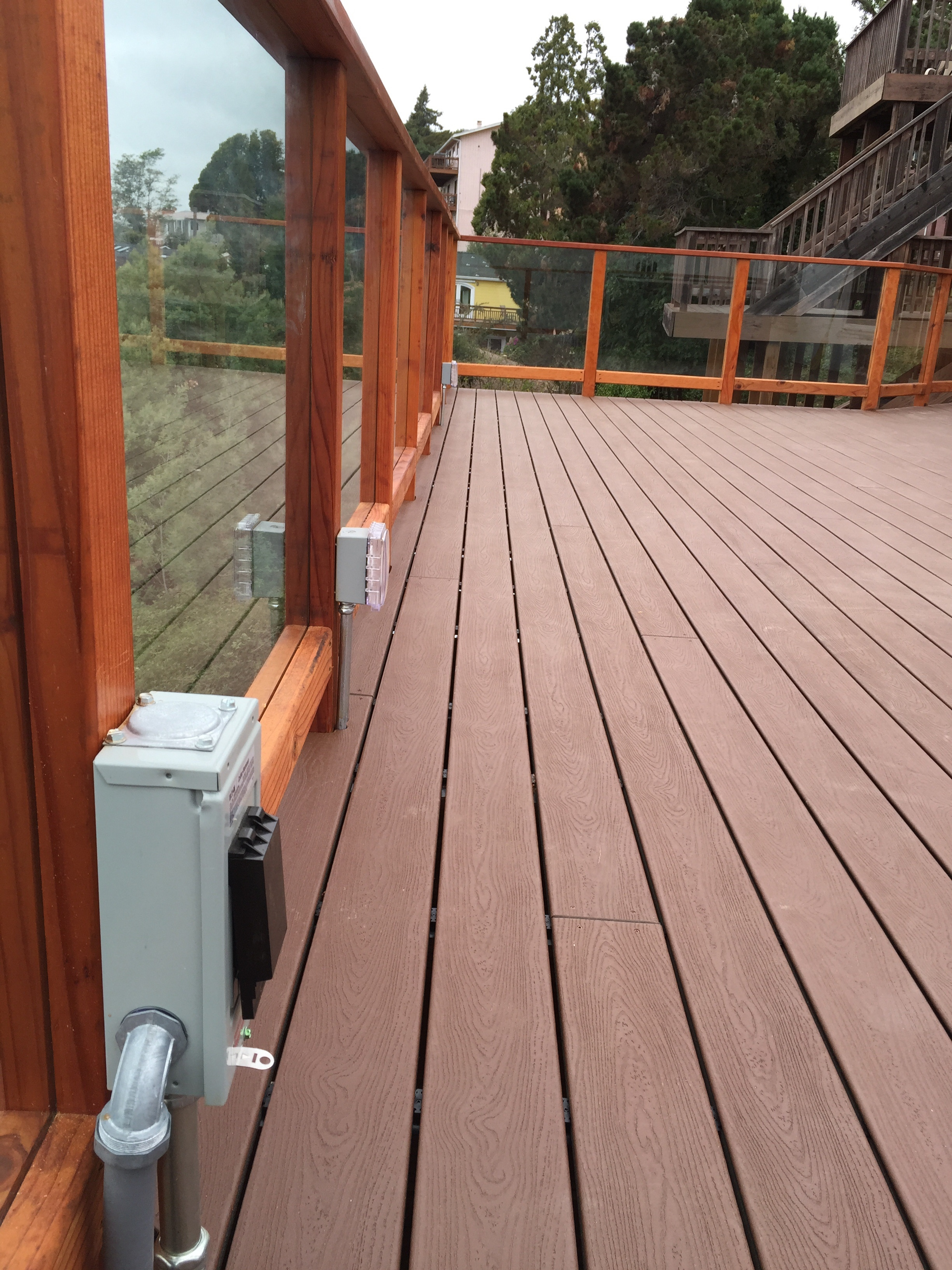 We used hidden fasteners on the decking for a cleaner look. 220 is wired in for the hot tub and additional outlets as well.
