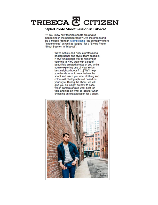 PHOTO EXPERIENCE FEATURED IN TRIBECA CITIZEN