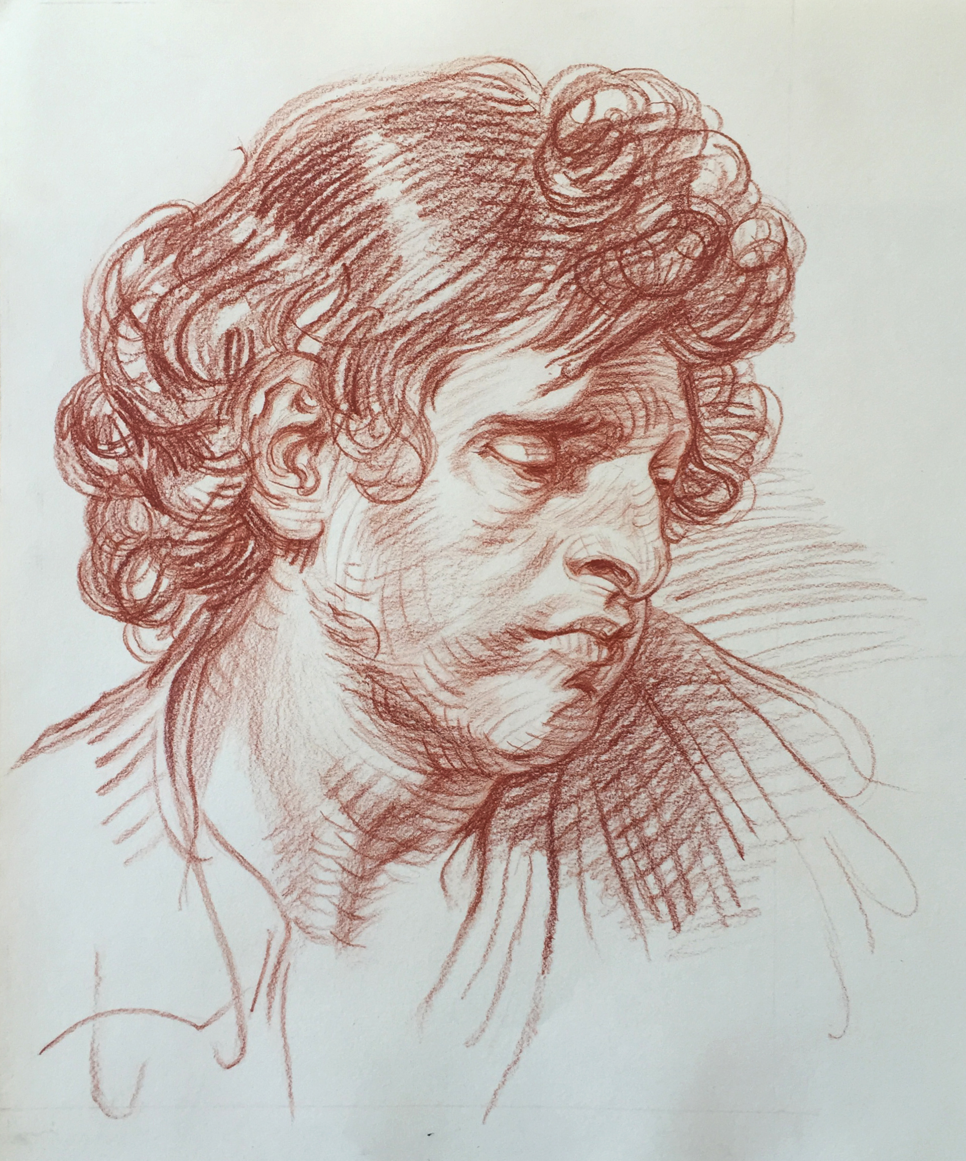 Master Copy - Head of a Man, Jean Baptiste Greuze