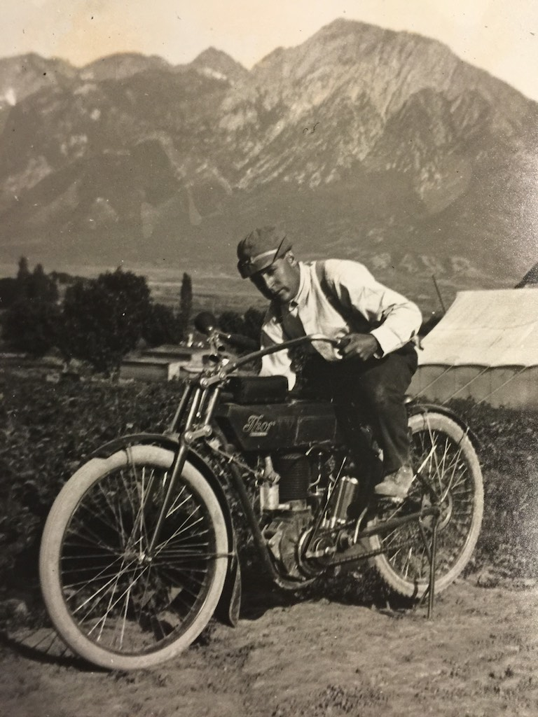 Thor Motorcycle (Thor IV ?)- Grandpa Benjamin in Salt Lake City, UT. Wasatch Mountains in the background.