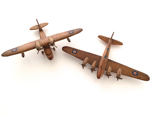1940s WWII Model Airplanes - (we think from Strombecker) - B17 Flying Fortress & Sikorsky Amphibian