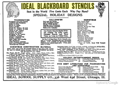 Ideal Blackboard Stencils image digitized by Google from Primary Education Volume 21 November 1913