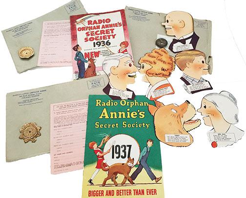 1935 1936 1937 Radio Orphan Annie's Secret Society Pin Backs & Shadowettes