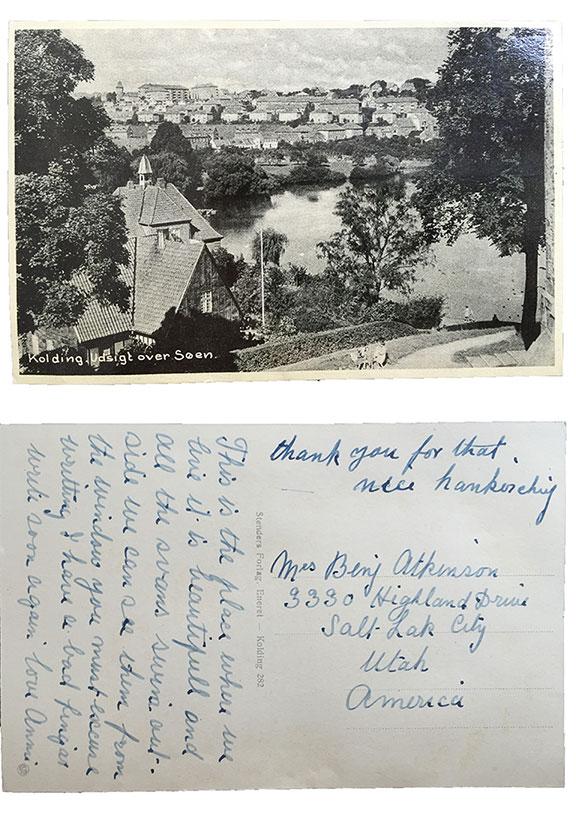 Kolding Udsigt over Søen 1953 postcard