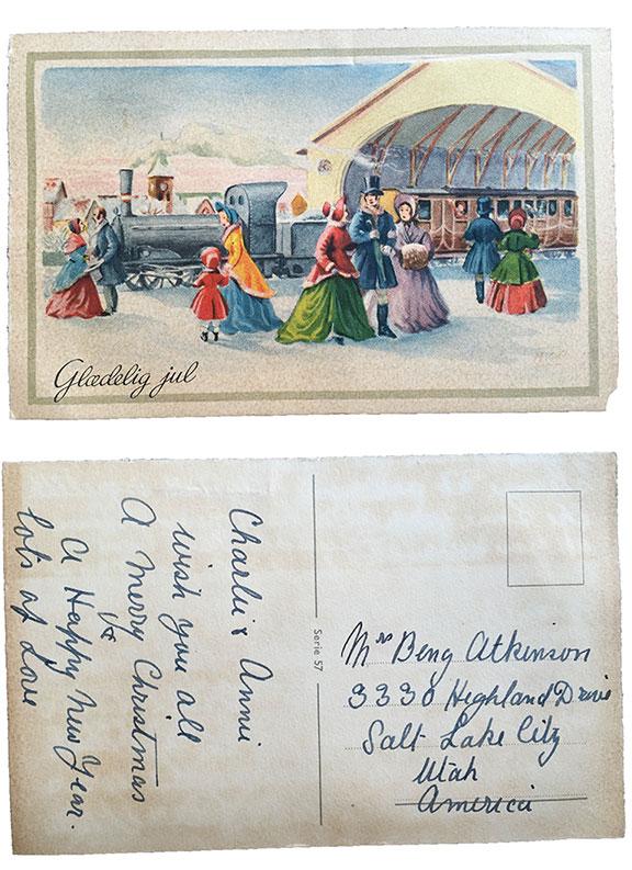 """Glaedelig jul """"Merry Christmas"""" card from Denmark 1953"""