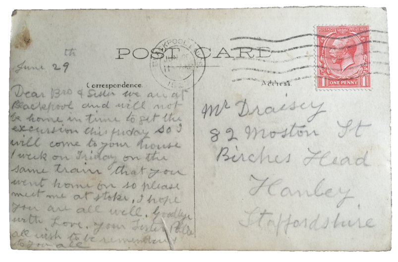 June 29 1927 Postcard from Blackpool