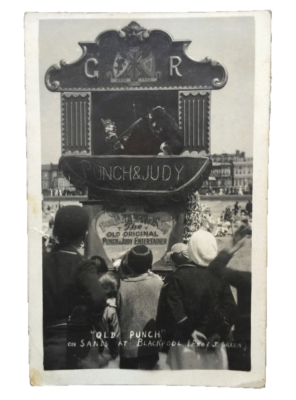 1927 Old Punch & Judy on Sands at Blackpool (Prof J. Green) Real Photo Postcard.