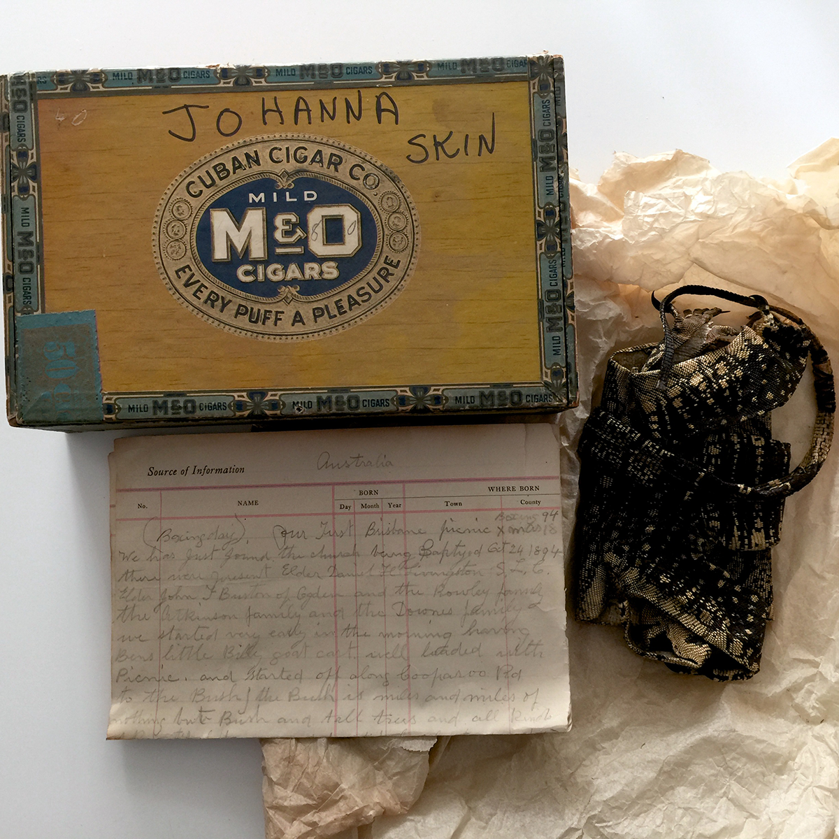 A cigar box, a letter and the goanna skin.