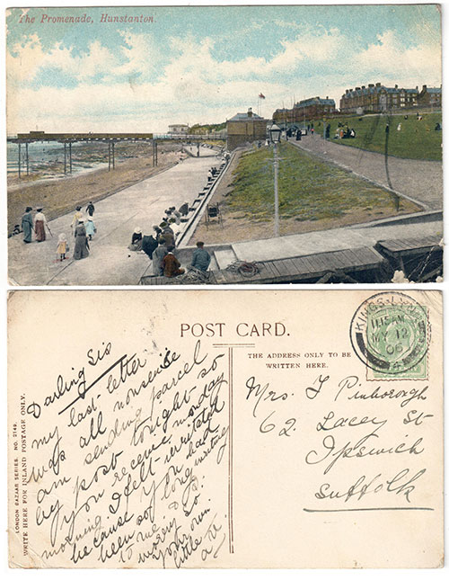 1906 postcard from The Promenade, Hunstanton. London Bazaar Series No. 2149
