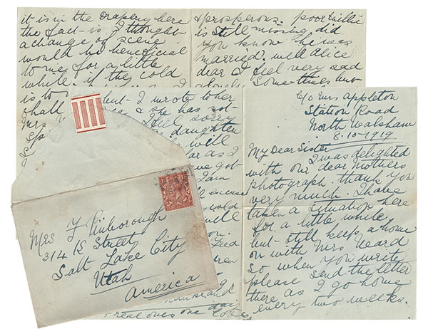 1919 Letter from Anna in North Walsham UK to Alice in Salt Lake City