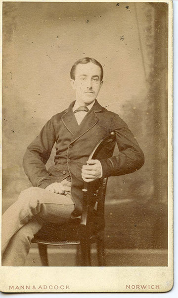 Walter Vince portrait by Mann & Adcock 6 Upper St. Giles Street Norwich UK. Circa 1880s.