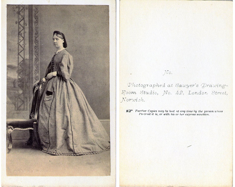 Photographed at Sawyer's Drawing Room Studio, No. 42. London Street, Norwich circa 1853-1863-ish. She has a book in her dress pocket, meaning? The left hand does not appear to have a wedding ring.