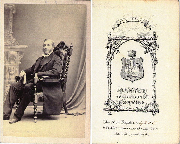 Sawyer 46 London Street Norwich. Sol Fecit. circa 1863-1865-ish. What does the book in his hand signify?