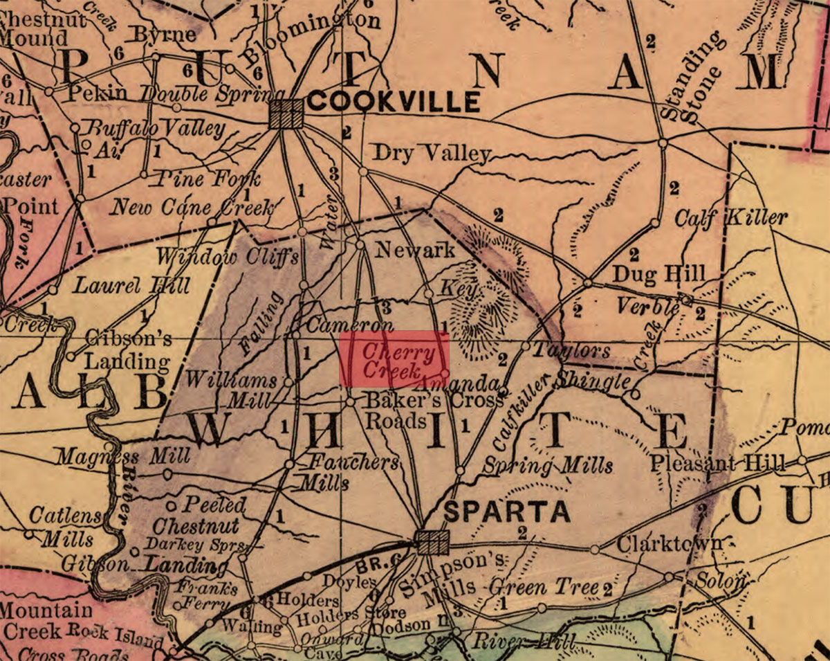 Excerpt from 1888 Rand McNally & Co's Railroad and County Map Tennessee Sourced from  Library of Congress  website.