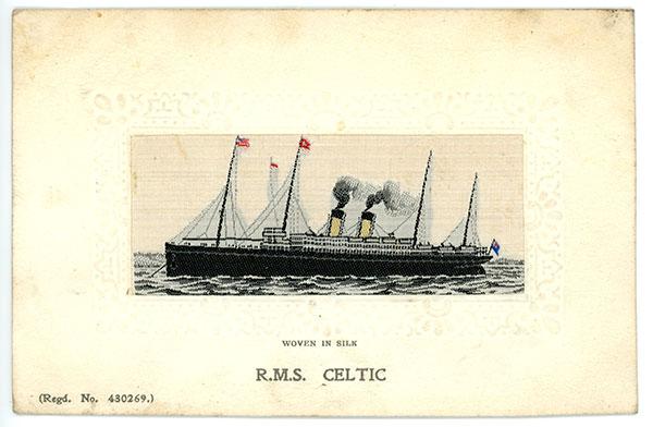 1911 R.M.S. Celtic postcard woven in silk. Stevengraph Regd No. 430269.