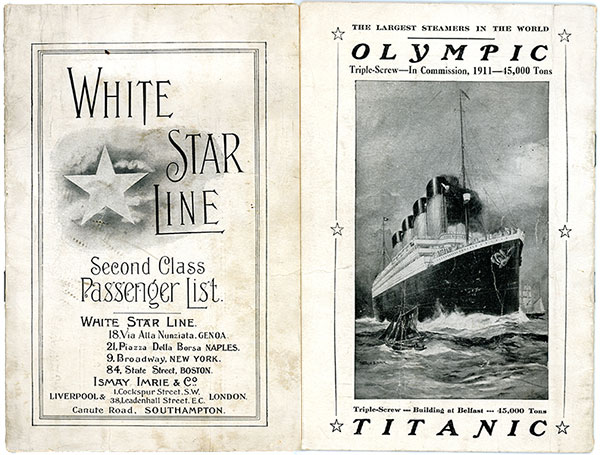 Front and back of White Star Line Second Class Passenger List 1911. Advertisement for White Star Line Olympic and Titanic.