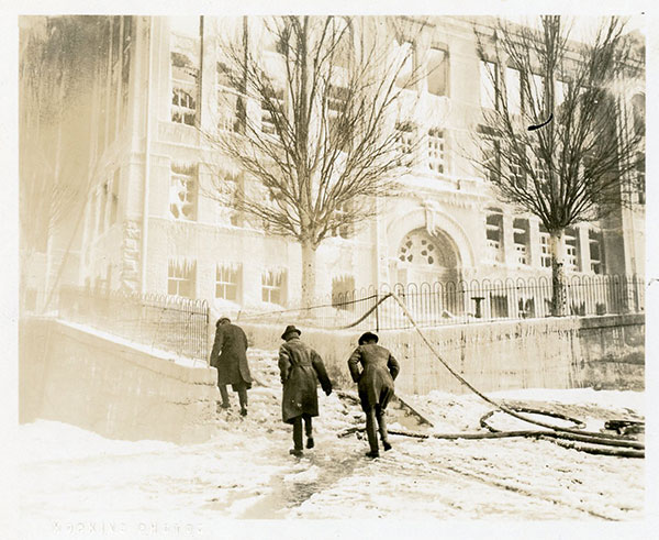 Lafayette School Fire - Salt Lake City, UT, 1922. Perhaps city officials dropping by to inspect the damage? Curious neighbors, or people passing by?