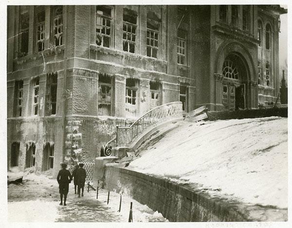 Lafayette School Fire - Salt Lake City, UT, 1922. Boys walking by the school after the fire.