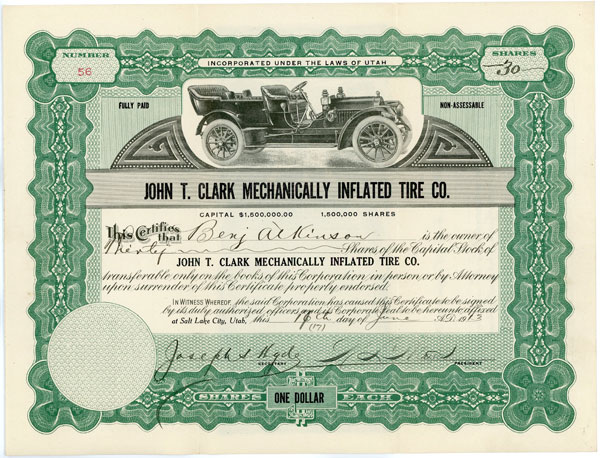 1913 John T. Clark Mechanically Inflated Tire Stock Certificate